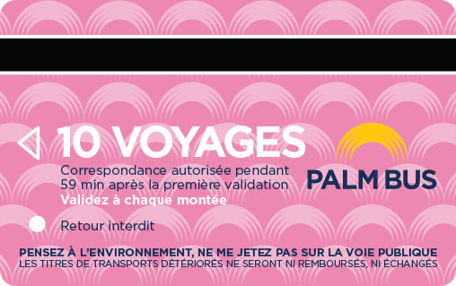 Carte 10 voyages palm bus